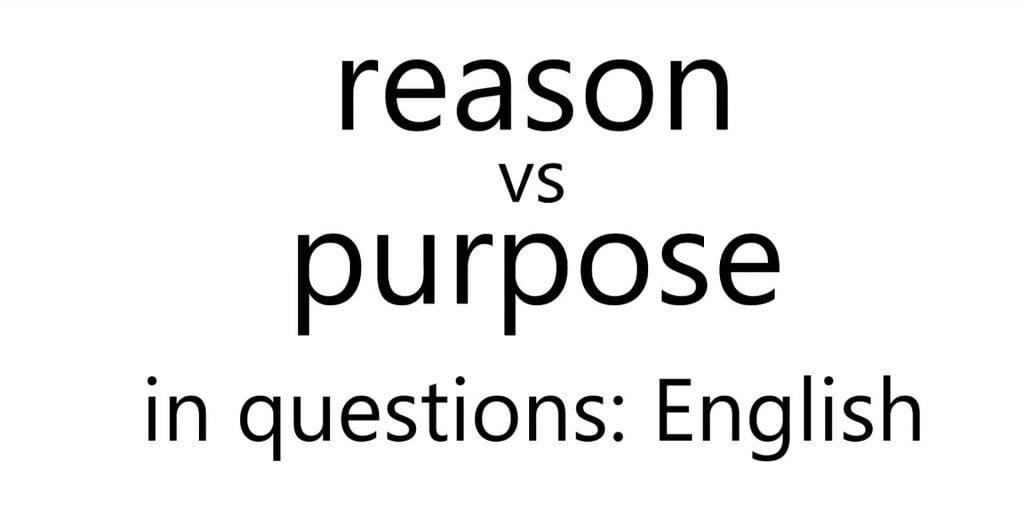 reason vs purpose in questions English